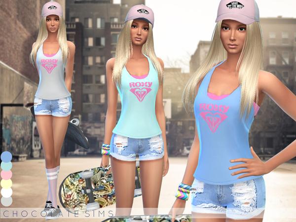 Sims 4 Roxy Tanktop by MissSchokoLove at TSR