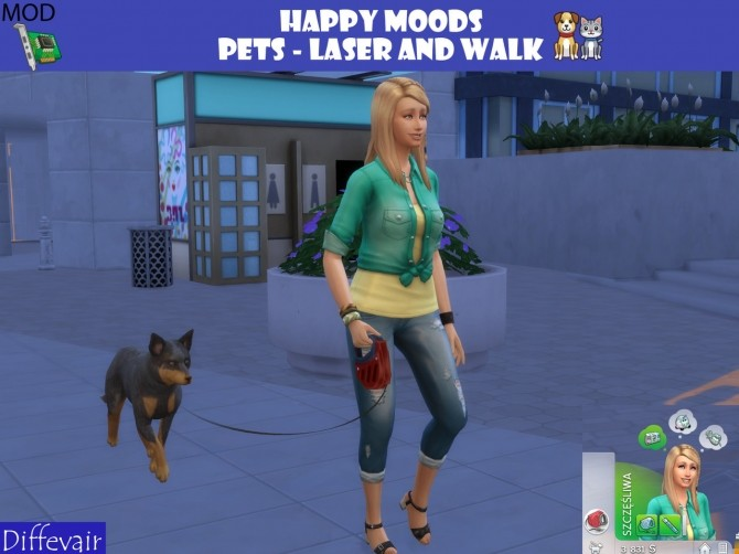 Sims 4 Happy Moods Laser cat and walk dog at Diffevair – Sims 4 Mods