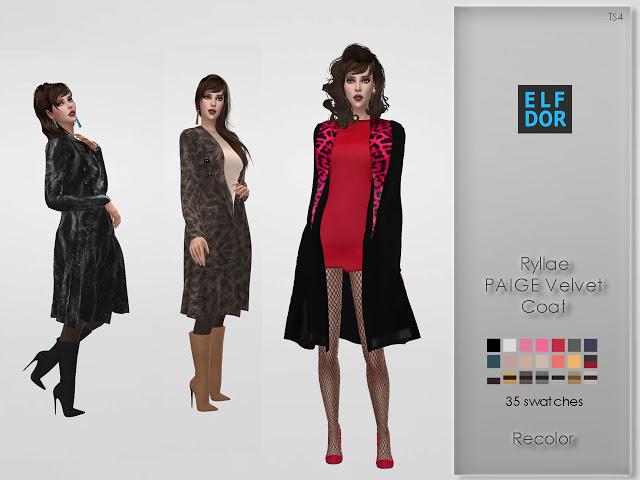 Sims 4 Ryllae PAIGE Velvet Coat Recolor at Elfdor Sims