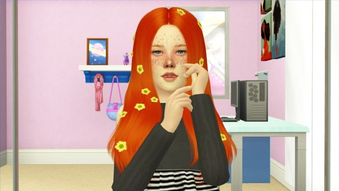 Sims 4 LEAH LILLITH SACHI HAIR KIDS VERSION at REDHEADSIMS