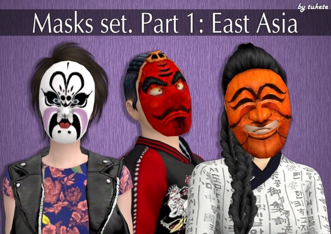 Sims 4 Masks set Part 1 East Asia at Tukete