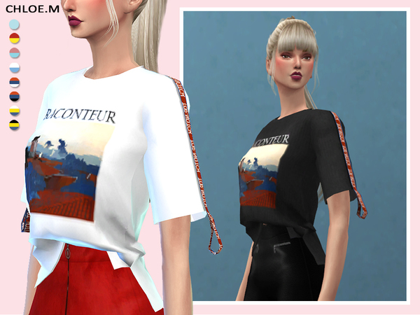 Short sleeved T shirt by ChloeMMM at TSR image 12102 Sims 4 Updates