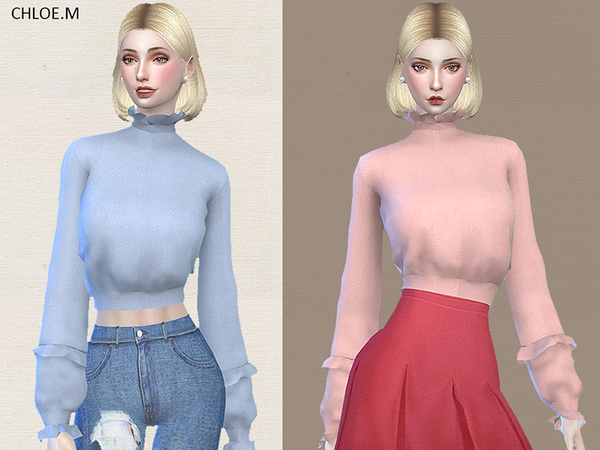 Sims 4 Blouse with falbala by ChloeMMM at TSR