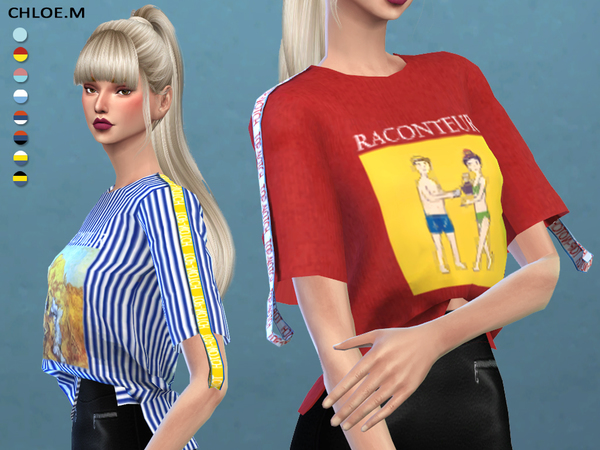 Short sleeved T shirt by ChloeMMM at TSR image 13100 Sims 4 Updates