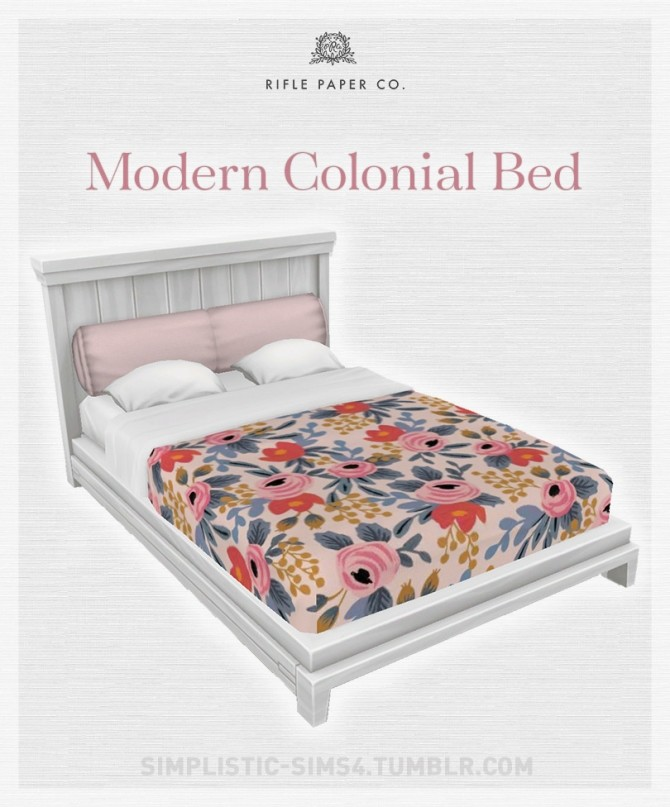 Sims 4 Modern Colonial Bed at SimPlistic
