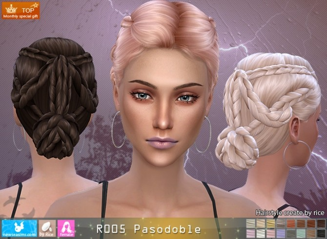 Hairstyles Updates: R005 Pasodoble Hair (P) At Newsea Sims 4 » Sims 4 Updates