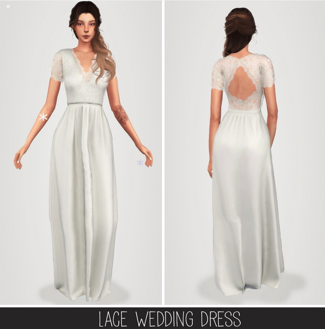 Lace wedding dress at Elliesimple image 1395 Sims 4 Updates