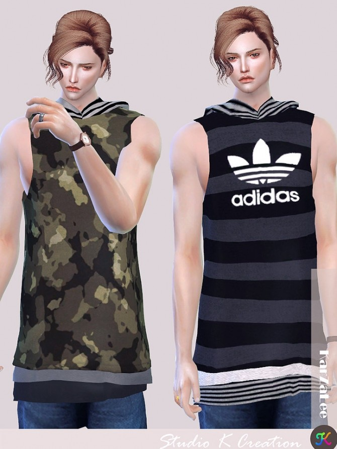 Hoodie tank top for male at Studio K Creation image 1401 670x893 Sims 4 Updates
