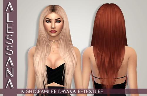 Sims 4 NIGHTCRAWLER Dayana Hair Retexture at Alessana Sims