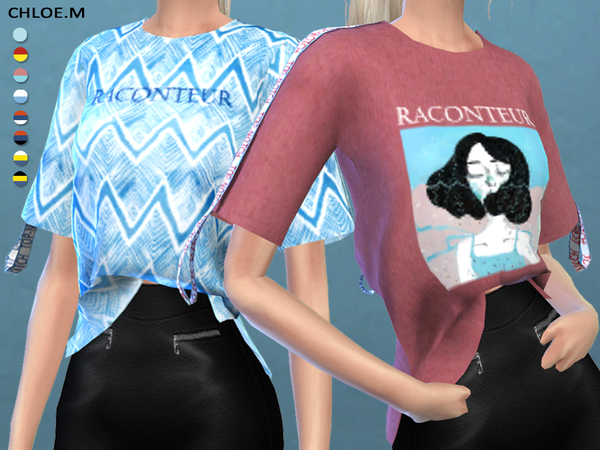 Short sleeved T shirt by ChloeMMM at TSR image 14100 Sims 4 Updates