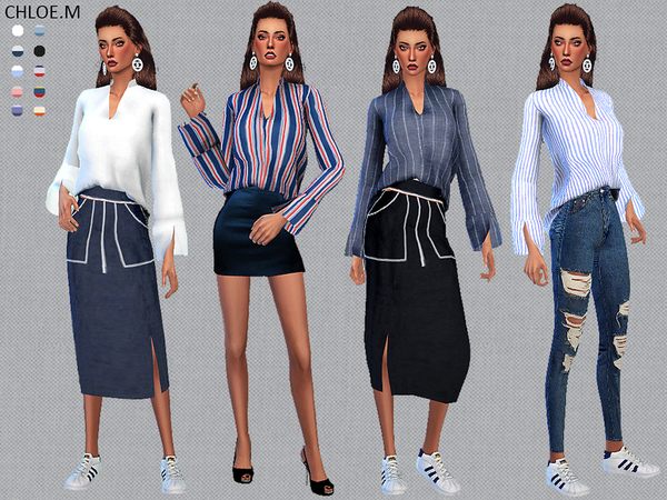 Sims 4 Blouse by ChloeMMM at TSR