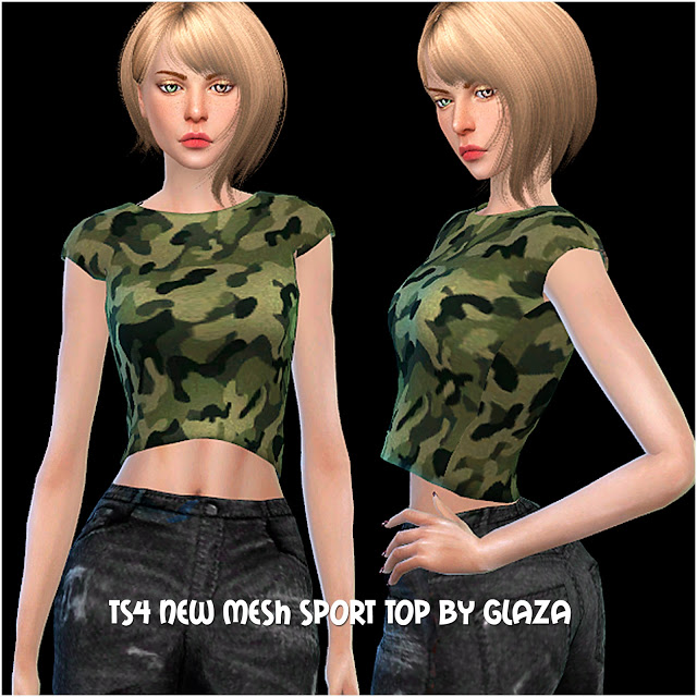 Sims 4 New mesh sport top at All by Glaza