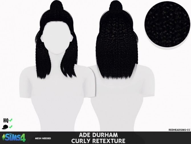 Sims 4 ADE DURHAM Hair CURLY RETEXTURE at REDHEADSIMS