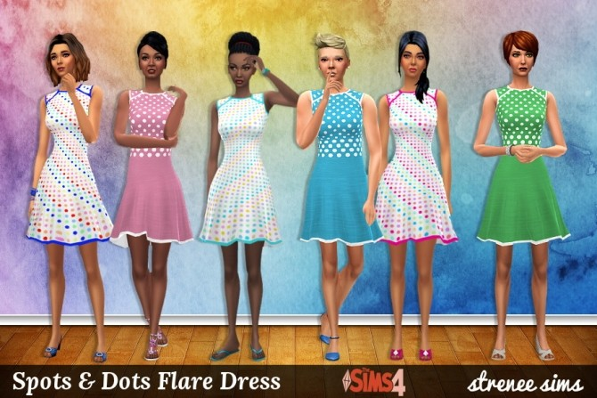 Sims 4 Spots & Stripes Flare Dresses at Strenee Sims