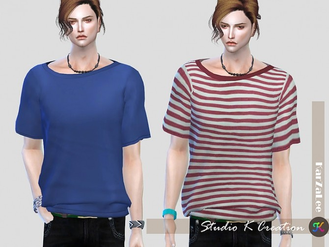 Sims 4 Giruto 28 Base Tee Solid Stripe at Studio K Creation