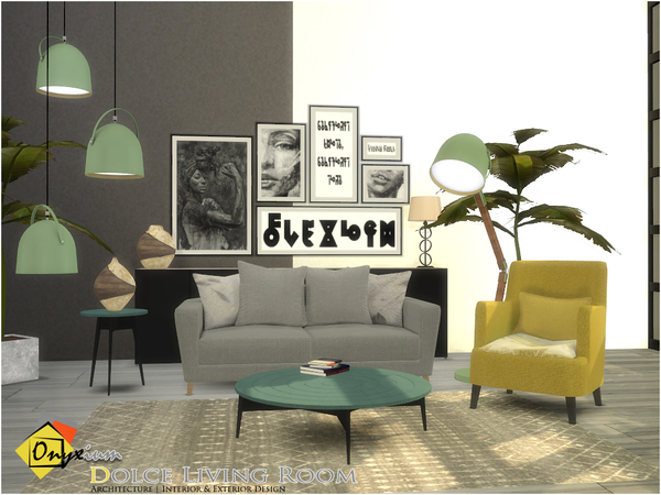Sims 4 Dolce Living Room by Onyxium at TSR