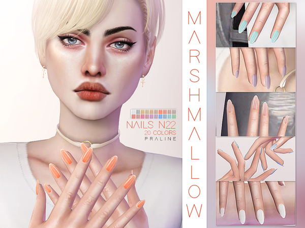 Marshmallow Nails N22 by Pralinesims at TSR image 1610 Sims 4 Updates
