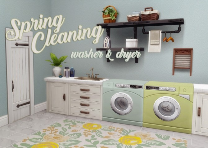 Sims 4 Spring Cleaning Washer & Dryer at Hamburger Cakes