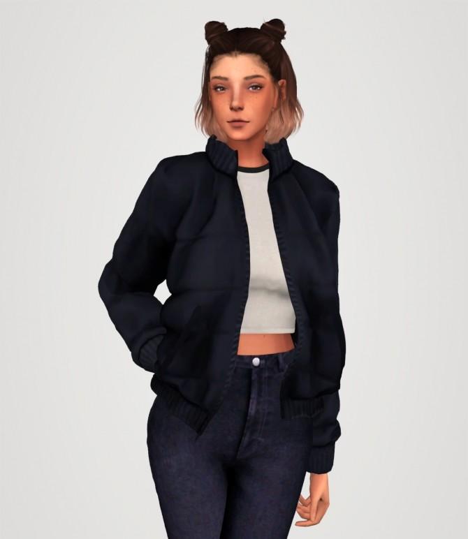 Puffer jacket and short sleeve crop tee at Elliesimple image 1723 670x772 Sims 4 Updates