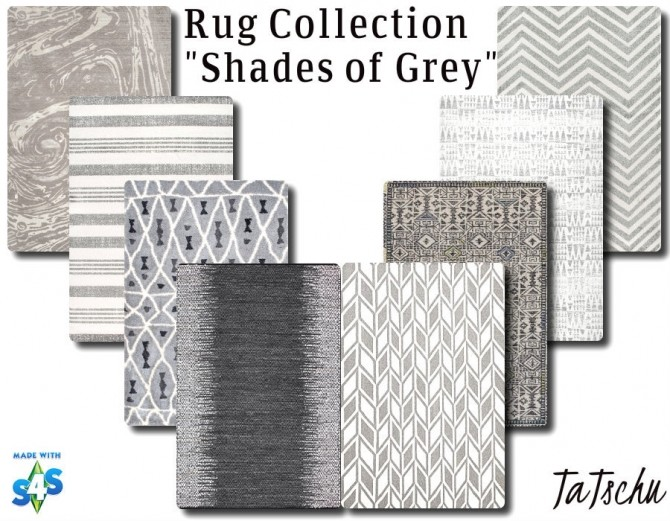 Sims 4 8 Rugs 4x3 in different shades of grey at TaTschu`s Sims4 CC