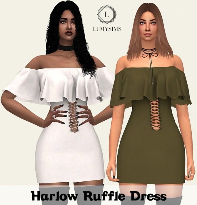 Sims 4 Harlow Ruffle Dress at Lumy Sims