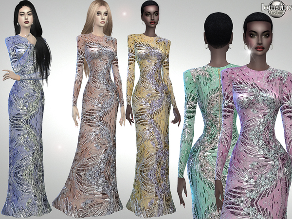 Sims 4 Vegiana crystals dress by jomsims at TSR