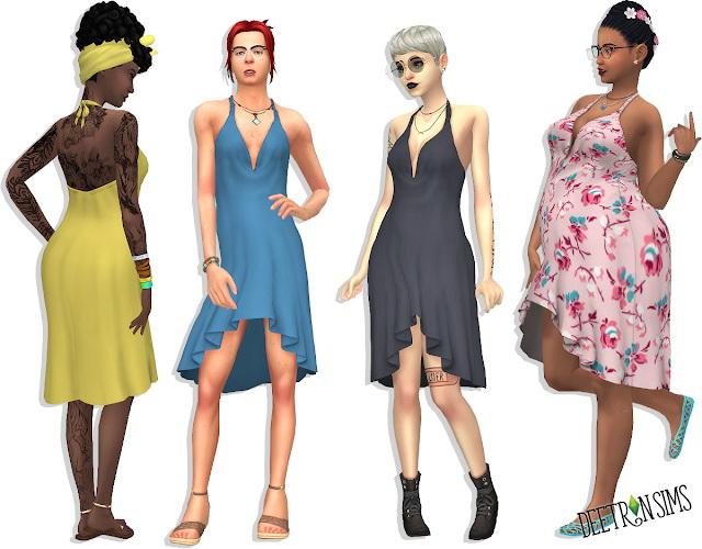 Sims 4 Hi Lo Halter Dress at Deetron Sims