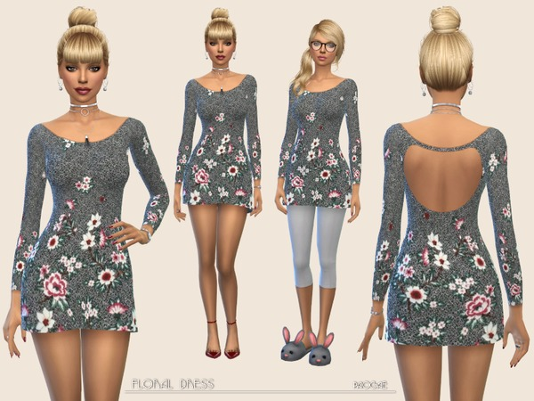 Sims 4 Floral Dress by Paogae at TSR