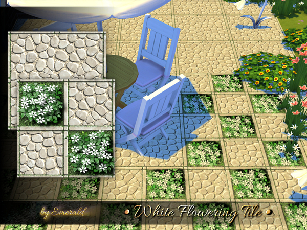 Sims 4 White Flowering Tile by emerald at TSR