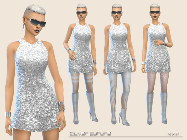 Silver Future mini dress by Paogae at TSR image 2047 Sims 4 Updates