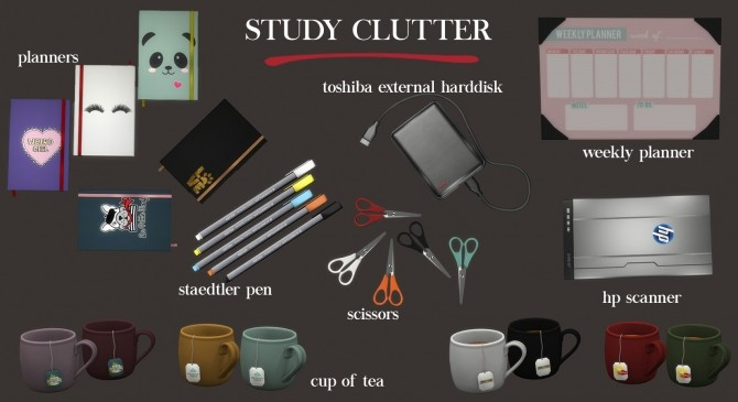 Sims 4 Study Clutter (P) at Leo Sims