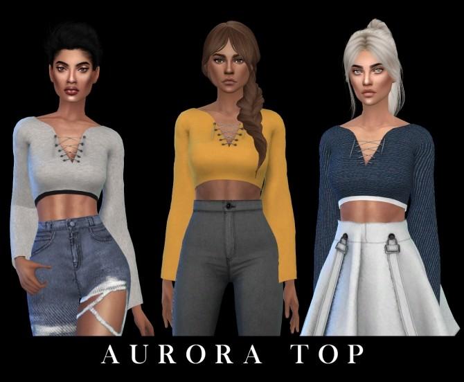Sims 4 Aurora Top at Leo Sims