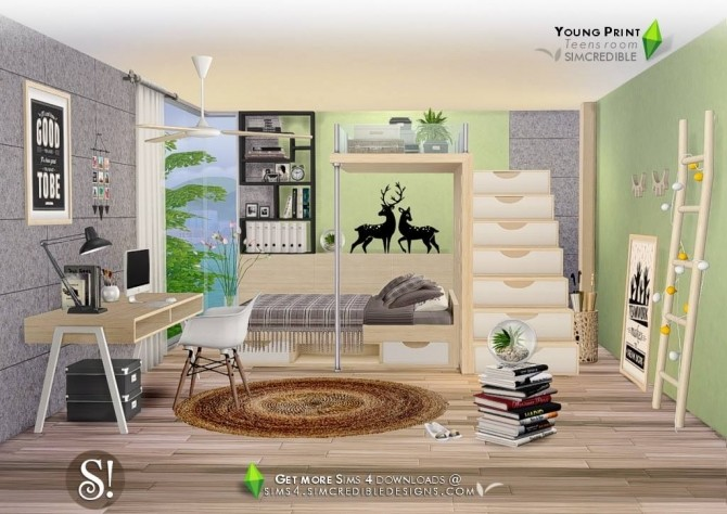 Sims 4 Young Print bedroom at SIMcredible! Designs 4
