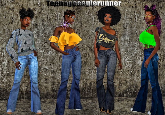 Sims 4 Betty Boop Flare Out Pants at Teenageeaglerunner