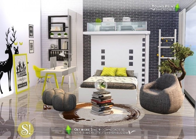 Young Print Bedroom At Simcredible Designs 4 187 Sims 4 Updates