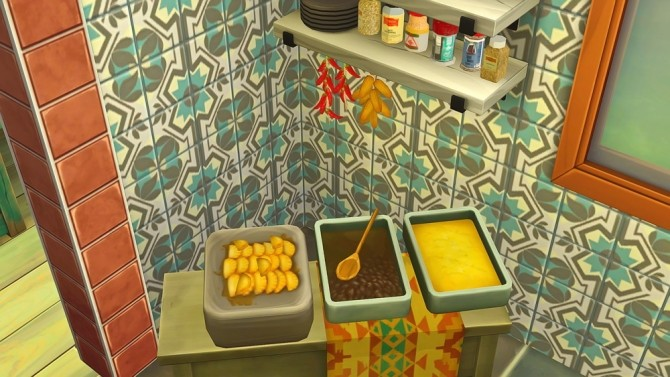 Sims 4 Liberated food stall table and food clutter at Josie Simblr