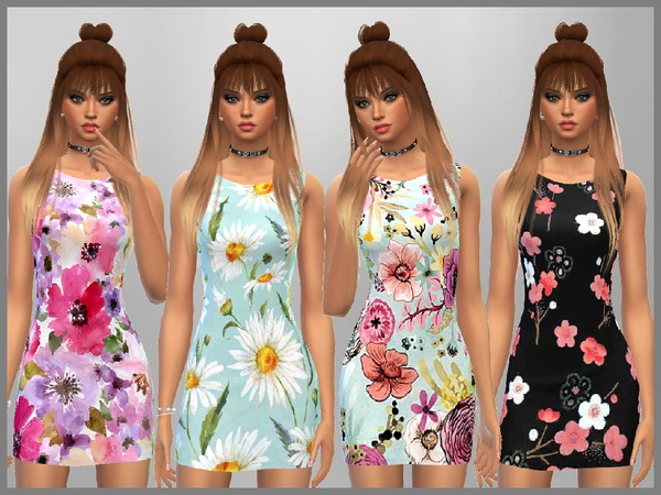 Floral Print Dresses by SweetDreamsZzzzz at TSR image 2140 Sims 4 Updates