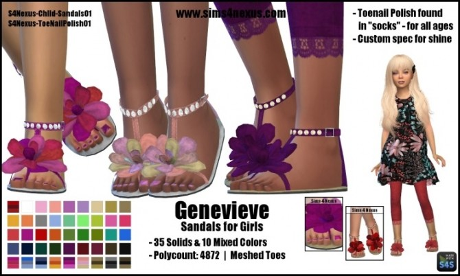 Sims 4 Genevieve sandals for girls by SamanthaGump at Sims 4 Nexus