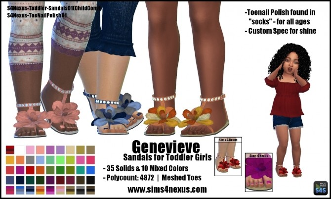 Genevieve sandals for girls by SamanthaGump at Sims 4 Nexus image 219 670x402 Sims 4 Updates
