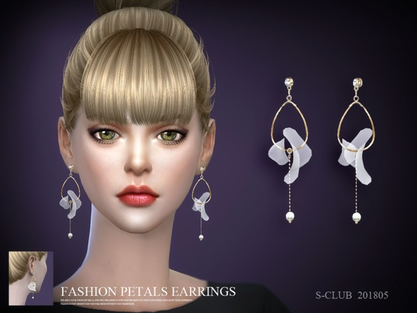 Sims 4 Earrings 201805 by S Club LL at TSR