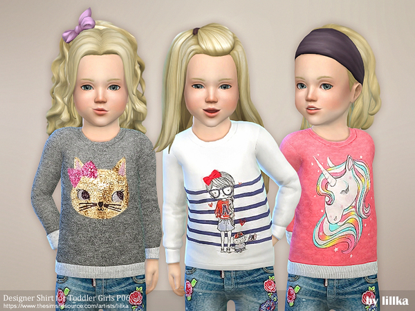 Designer Shirt for Toddler Girls P06 by lillka at TSR image 244 Sims 4 Updates