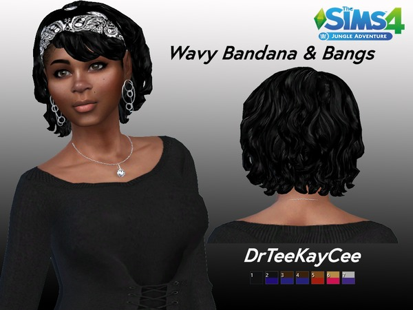 Bang Wavy Bandana by drteekaycee at TSR image 250 Sims 4 Updates