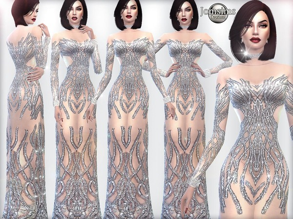 Sims 4 Asled cocktail dress by jomsims at TSR