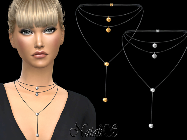 Sims 4 Round Pendant Layered Necklace by NataliS at TSR