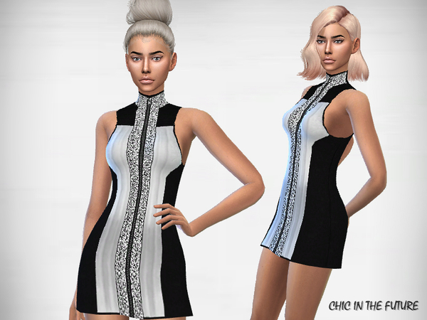 Sims 4 Chic in the future dress by Puresim at TSR
