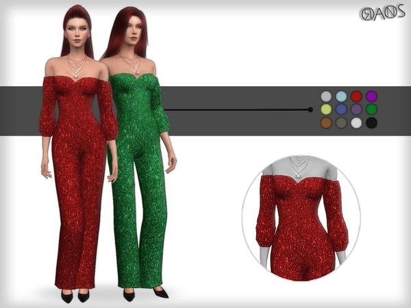 Sims 4 Glitter Bardot Jumpsuit by OranosTR at TSR