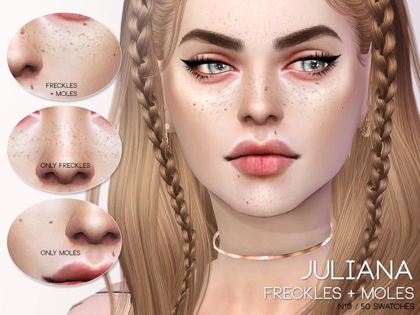 Sims 4 Juliana Freckles + Moles N10 by Pralinesims at TSR