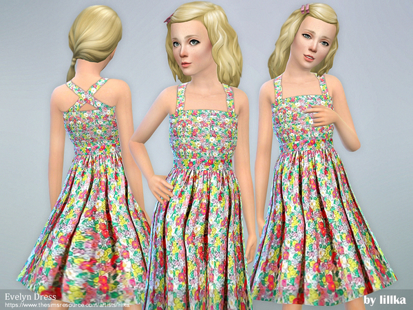 Sims 4 Evelyn Dress by lillka at TSR