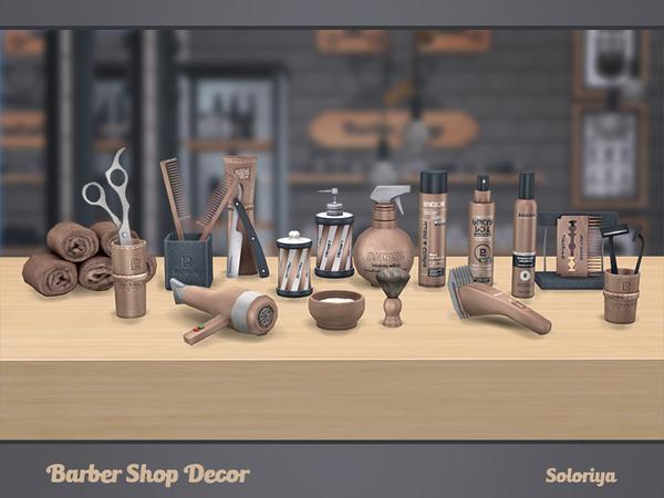 Sims 4 Barber Shop Decor by soloriya at TSR