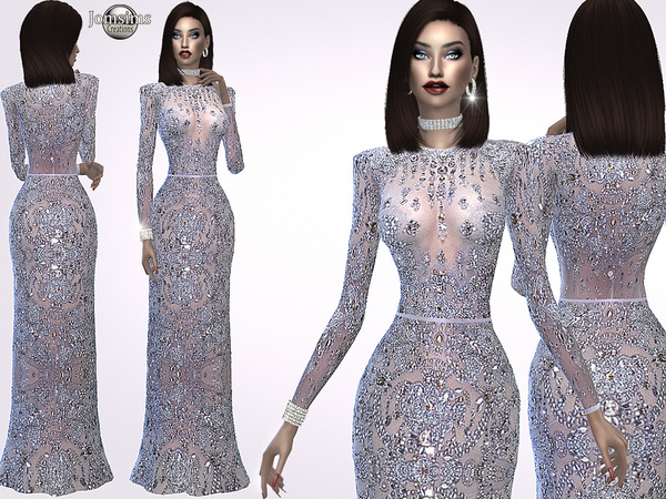 Madine glitter dress by jomsims at TSR image 3610 Sims 4 Updates